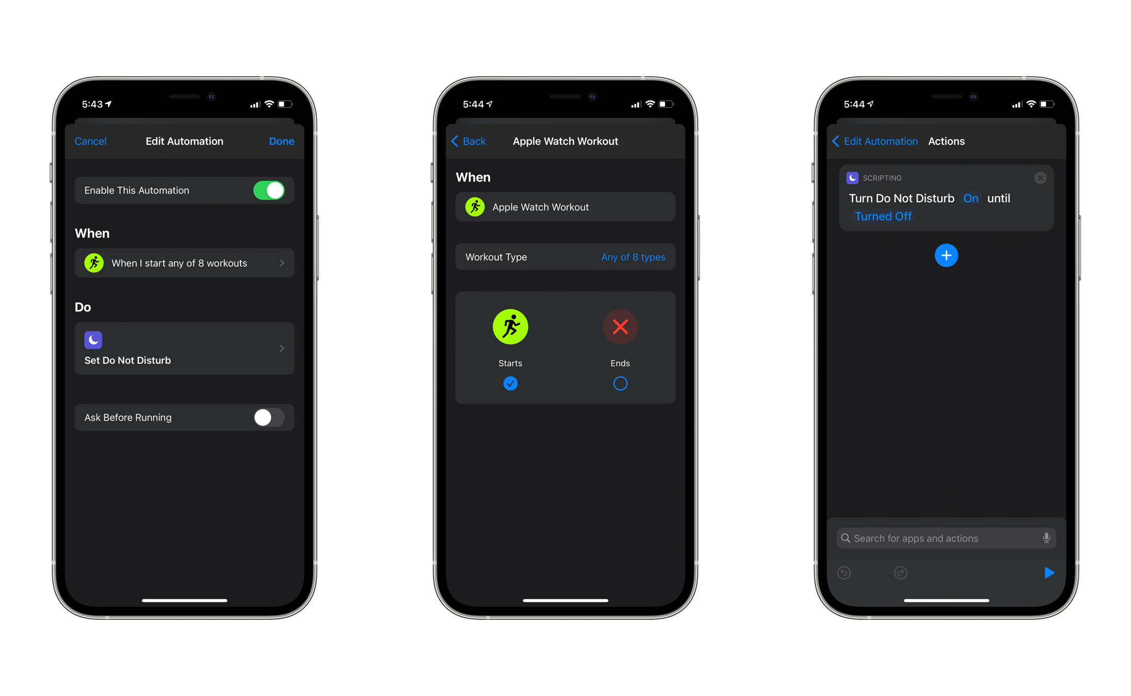 3 iPhones with screenshots of Shortcuts Automation process